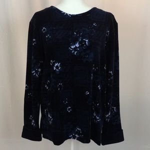 New Jason Maxwell Navy Faux Velvet Tunic. SZ L